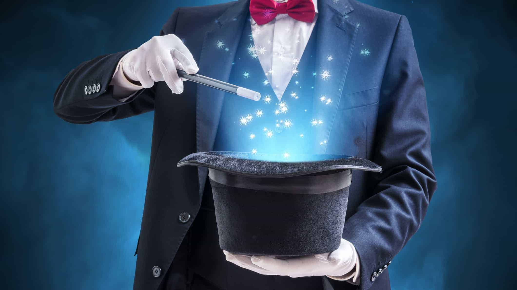 Magician with magic hat, investment magic, invest like Warren Buffett
