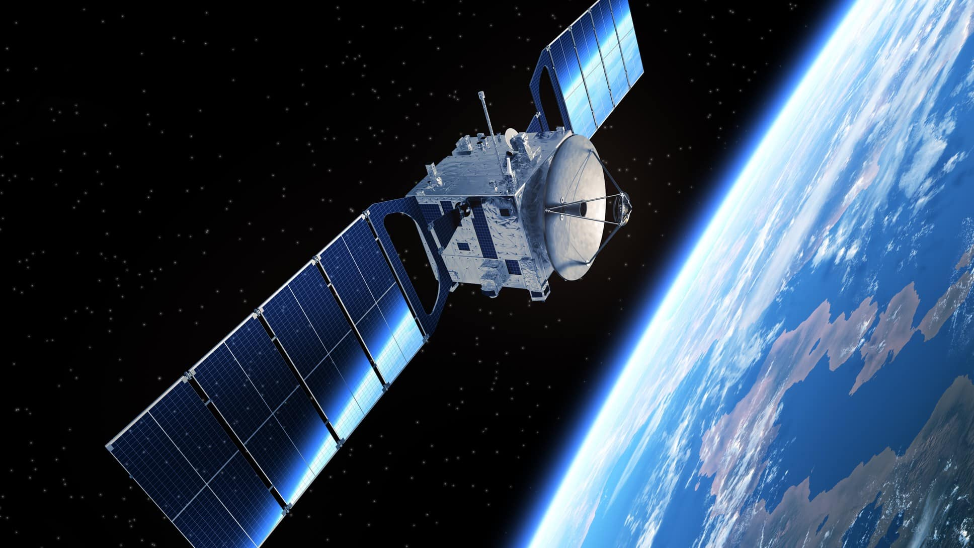satellite in space orbiting the earth