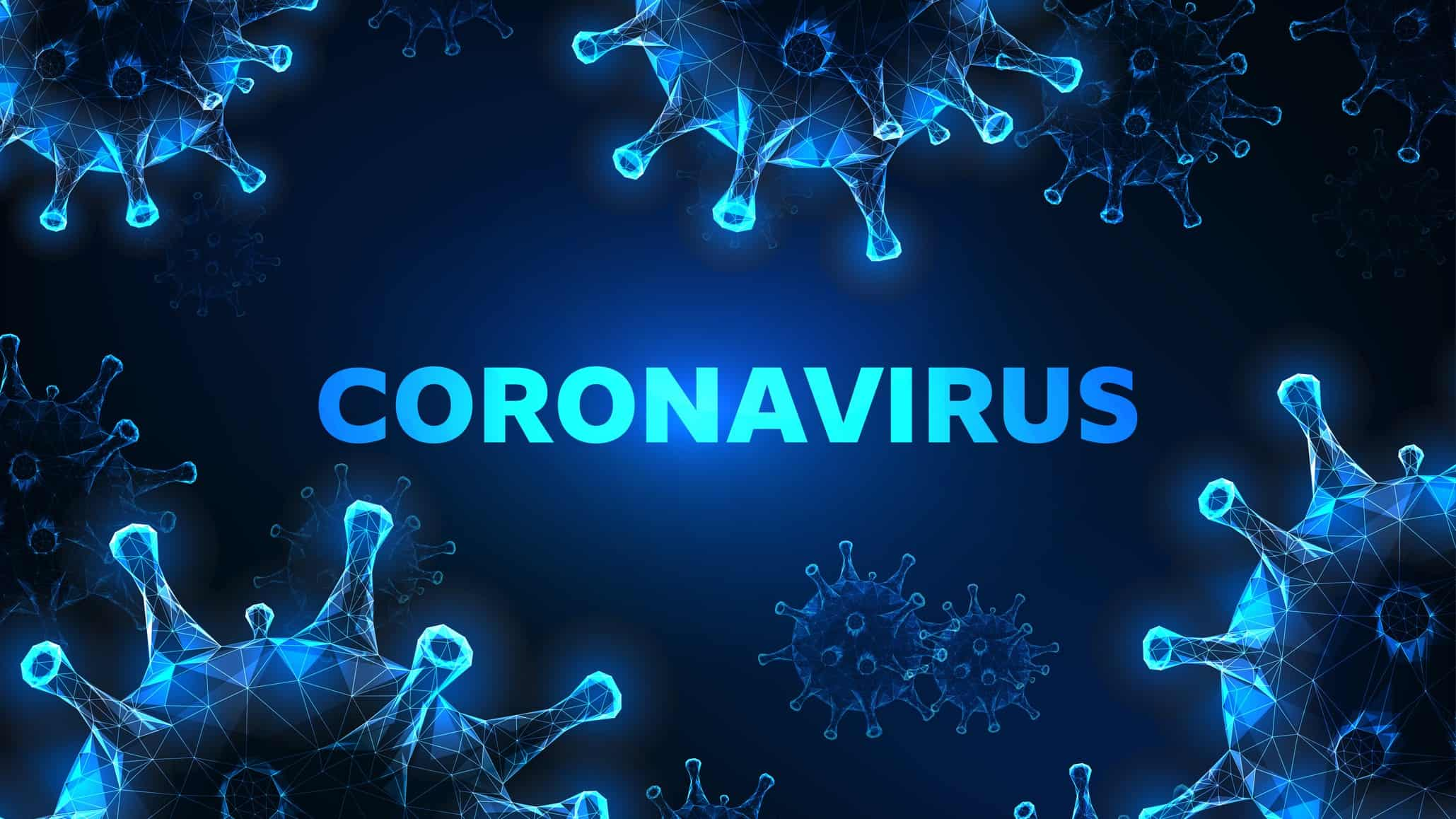 Black & blue background with text coronavirus