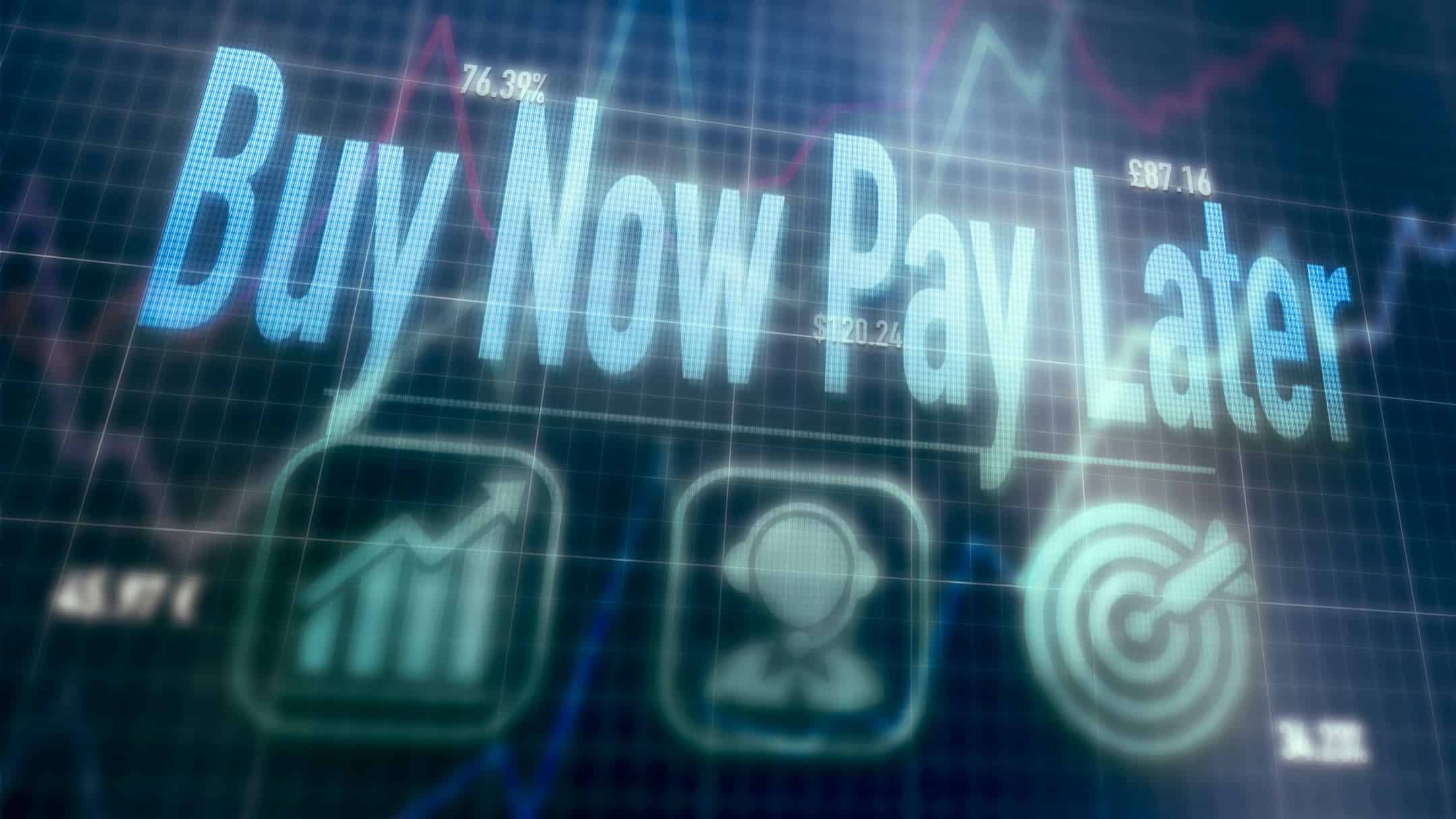 the words buy now pay later on digital screen, afterpay share price